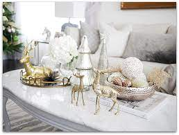 One of my favor decor things to do is change out my coffee table decor for different holidays! Mixed Metallics Christmas Decorations Classy Glam Living