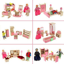 doll house furniture sets. Newest Wooden House Furniture Miniature Dolls Kitchen Bed Living Room Restaurant Bedroom Bathroom For Kids Christmas Gifts Hot-in Toys From Doll Sets