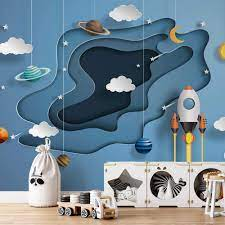 Photo wallpapers Space Papercut 3D for ...