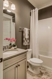 Paint color is Sherwin WIlliams Portico SW 7548. Contemporary Full Bathroom  with Flat panel cabinets