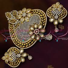 ps8809 latest fusion designer jewellery kundan big pendant set antique gold imitation collections