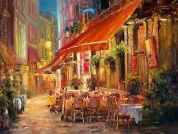 haixia liu cafe in light brussels oil x