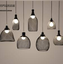 shapes black metal cover mesh diy ceiling lamp light pendant home cafe design