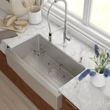 Kraus Stainless Steel  X  Farmhouse Kitchen Sink With - Bathroom sink installation