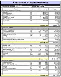 Spreadsheet Template Building Construction Estimate Sample And House