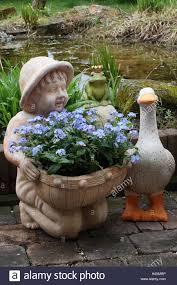 garden figures. Terrace, Garden, Figures, Flowers, Garden Frog Prince, Frog, Goose, Duck, Planter, Boy, Forget-me-not, Pond, In Of A Kitschy Way, Outside, Figures