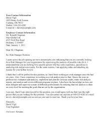 Sample Cover Letter For Risk Management Position Paulkmaloney Com