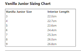 Speed Skate Size Chart Vanilla Junior Skate Sizing Chart Rollerskatenation Com