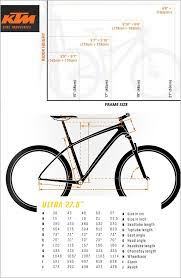 mountain bike frame size chart best of ktm ultra fire 27 mountain bike bicycle bto sports