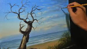 acrylic seascape painting lesson old tree in the beach in step by step tutorial by jmlisondra you