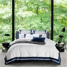 luxury hotel style 100 cotton bedding set duvet cover sheet pillowcase king queen size white gray blue silk ribbon bed linen affordable bedding sets modern