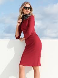 Peter Hahn-Jersey-Kleid mit 3/4-Arm-Rot
