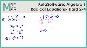 kuta algebra 1 radical equations hard part 2