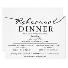 Dinner Invation Black White Elegant Script Rehearsal Dinner Invite