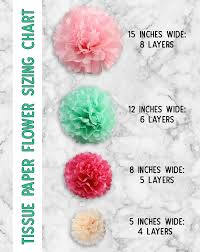 tissue paper flowers sizing guide