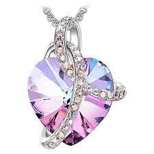 j reneÉ love heart necklace for women with crystals from swarovski jewellery
