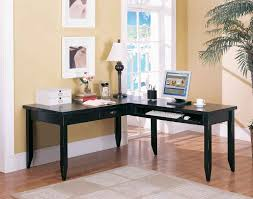 furniture shaped desks home office. Stunning Decorating Ideas Using Rectangular Cream Rugs And L Shaped Black Wooden Desks Also With Round Furniture Home Office C