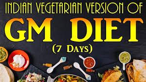 Gm Diet Vegetarian Chart Indian Vegetarian Version Of Gm Diet Plan 7 Days Gm Diet