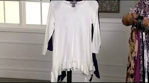Kate And Mallory Size Chart 739 832 Kate Mallory Knit 3 4 Sleeve Scoop Neck Sharkbite Ruffle Top