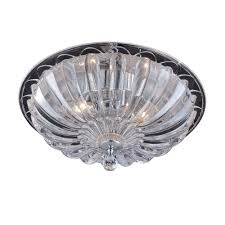 hampton bay vintage collection 15 75 in 3 light chrome flushmount with glass shade