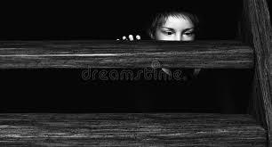 Child hiding under Stairs stock illustration Illustration of hidden