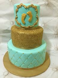 Tiffany Blue And Gold Baby Shower Cake Baby Shower Pinterest
