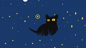 cute, black cat, minimal art ...