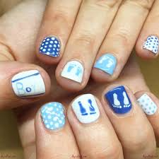 Classy white and blue nail art designs for your nails - White and ...