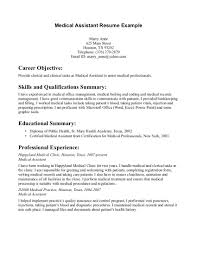 Cover Letter Samples Of Medical Assistant Resume Example Objectives