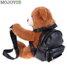 teddy bear plush backpacks soft bear shoulder bag fashion winter warm women backpack pu leather rucksack female mochila bags drawstring backpack black
