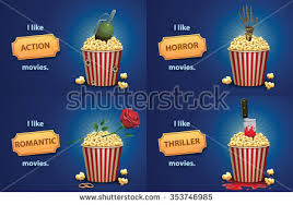 types of movies set banners popcorn basket different elements stock vector 353746985