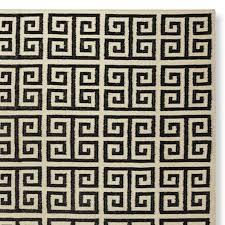 charming greek key area rug greek key kilim rug antique whiteebony williams sonoma