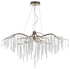 willow 11 light chandelier silver gold ice glass