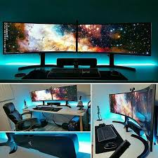 impressive office desk setup. just an awesome curved montitor setup life in the pc master race credit to impressive office desk a