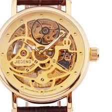 mens brown leather gold watches best watchess 2017 aliexpress jiedeng brand gold skeleton watches men brown
