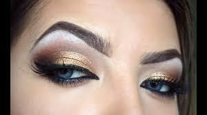 bronze gold eyes brown lip makeup tutorial