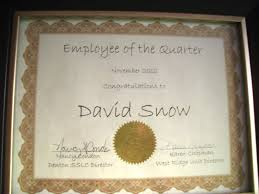 Employee Of The Quarter Certificate Snows Eclectic Journal Employee Of The Quarter