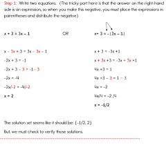 one solution in this example solving absolute value equations