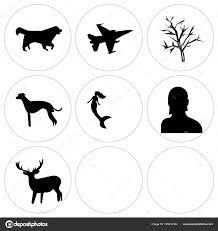 9 の設定フリー クリップ アート鹿女性ヘッド人魚など簡単な編集可能