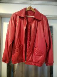 details about preston and york red leather jacket women s size small in euc