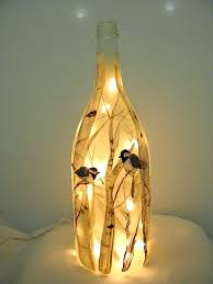 wine bottle lamp light recycled glass adees and birch trees night shade diy wine bottle lamp
