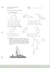 amusing mrs belcher accelerated math 3 law of co trigonometry review worksheet worksheet um