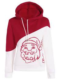 Hoodies Red And White L Santa Print Color Block Hoodie Gamiss