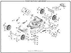homelite p1100 18 volt lawn mower mfg no 107178001 parts diagram genral assembly part 2