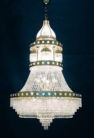 chandelier with pendants of swarovski crystals and gold plated frame of metal innovation kraus