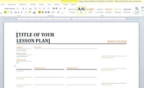 Sample Lesson Plan Outline Template Free Download Format Doc – Pitikih