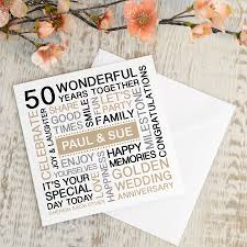 Personalised Golden Wedding Anniversary Card By A Type Of Design