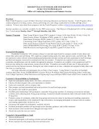 Residential Counselor Job Description Resume