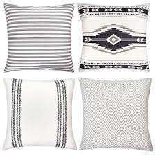 high end pillows.  Pillows Decorative Throw Pillow Covers For Couch Sofa Or Bed Set Of 4 18 X  Inch Modern Quality Design 100 Cotton Stripes Geometric  Throughout High End Pillows L