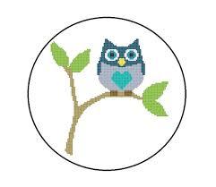 Owl Cross Stitch Pattern Enchanting Owl Cross Stitch Pattern PDF Baby Owl Sitting On A Branch PDF